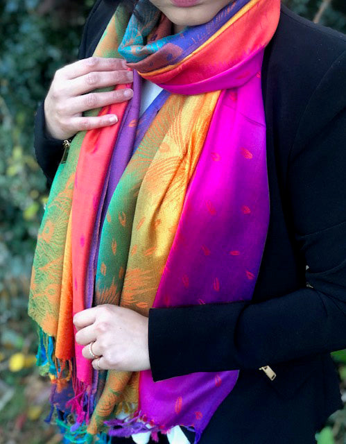 LARGE PURPLE RAINBOW FEATHER AND LEAF PRINT PASHMINA SHAWL SCARF