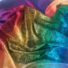 A-SHU LARGE RAINBOW MULTI COLOUR BLACK PAISLEY PRINT PASHMINA SHAWL SCARF - A-SHU.CO.UK
