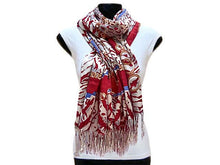 A-SHU LARGE RED CHAIN AND LEOPARD PRINT DESIGN SHAWL SCARF - A-SHU.CO.UK