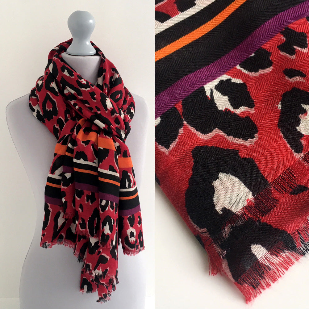LARGE RED COTTON MIX STRIPE LEOPARD PRINT SHAWL SCARF