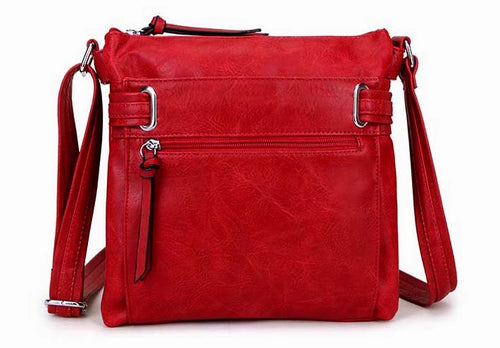 LARGE RED MULTI COMPARTMENT CROSS BODY OVER SHOULDER BAG WITH LONG STRAP