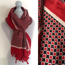 A-SHU LARGE RED DIAMOND PRINT SHAWL SCARF WITH TASSELS - A-SHU.CO.UK