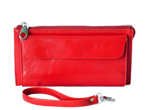 LARGE RED GENUINE LEATHER MULTI-COMPARTMENT PURSE / CLUTCH BAG WITH WRIST STRAP