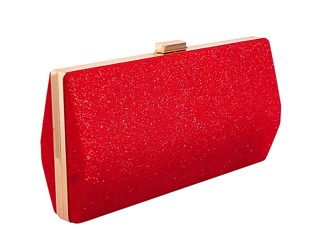 LARGE RED METALLIC HARD BACK BOX FRAME CLUTCH BAG WITH LONG CHAIN STRAP