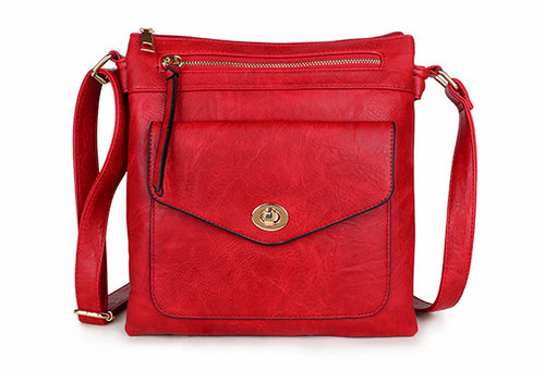 LARGE RED TURN LOCK MULTI COMPARTMENT CROSS BODY SHOULDER BAG WITH LONG STRAP