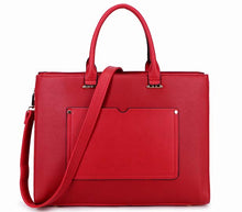 "LARGE MULTI COMPARTMENT 15.6"" LAPTOP BRIEFCASE HANDBAG WITH LONG SHOULDER STRAP - RED"