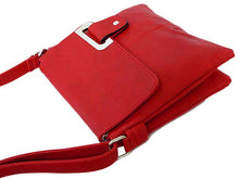 LARGE RED MULTI POCKET CROSS BODY MESSENGER BAG