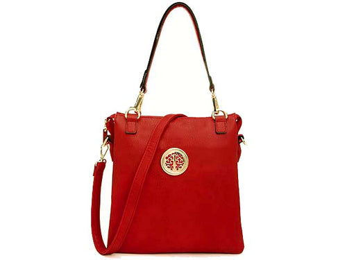 LARGE RED MULTI POCKET HANDBAG WITH LONG CROSS BODY STRAP