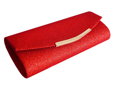 A-SHU LARGE RED SPARKLY METALLIC CLUTCH BAG WITH LONG CHAIN STRAP - A-SHU.CO.UK