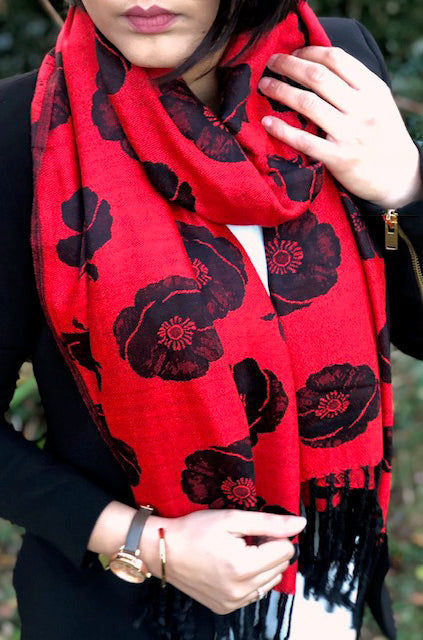 A-SHU LARGE REVERSIBLE RED AND BLACK POPPY PASHMINA SHAWL SCARF - A-SHU.CO.UK