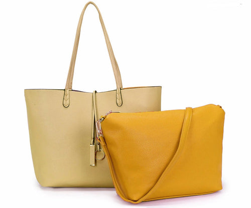 A-SHU LARGE REVERSIBLE TOTE BAG SET WITH CROSSBODY BAG - BEIGE / MUSTARD YELLOW - A-SHU.CO.UK