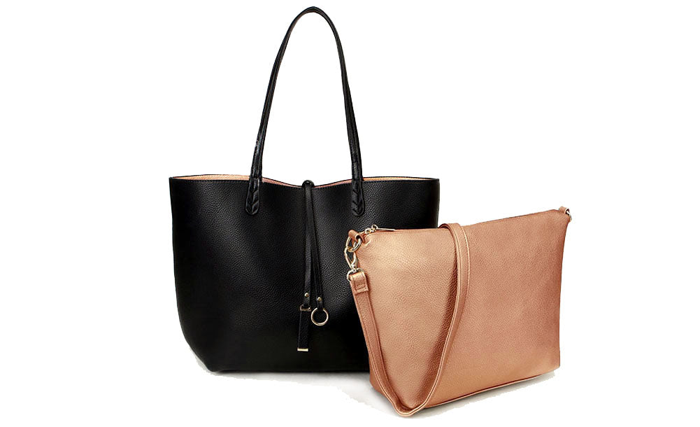 A-SHU LARGE REVERSIBLE TOTE BAG SET WITH CROSSBODY BAG - BLACK / ROSE GOLD - A-SHU.CO.UK