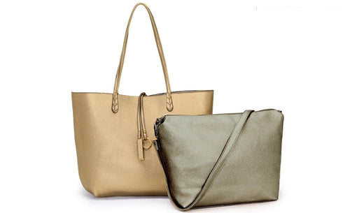 A-SHU LARGE REVERSIBLE TOTE BAG SET WITH CROSSBODY BAG - GOLD / PEWTER - A-SHU.CO.UK
