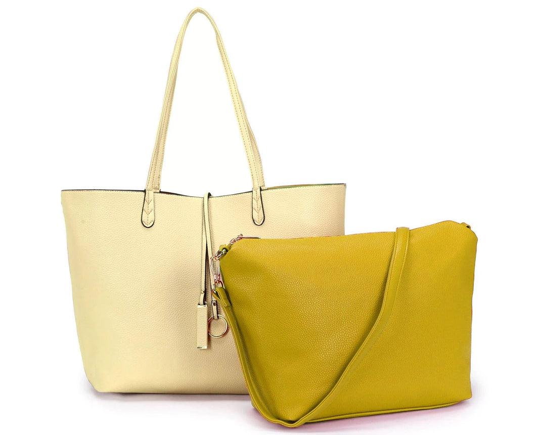A-SHU LARGE REVERSIBLE TOTE BAG SET WITH CROSSBODY BAG - LIME YELLOW / CREAM - A-SHU.CO.UK