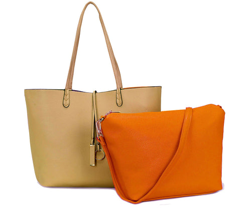 A-SHU LARGE REVERSIBLE TOTE BAG SET WITH CROSSBODY BAG - ORANGE / TAUPE - A-SHU.CO.UK