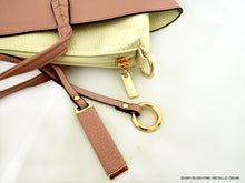 A-SHU LARGE REVERSIBLE TOTE BAG SET WITH CROSSBODY BAG - DUSKY BLUSH PINK / METALLIC CREAM - A-SHU.CO.UK