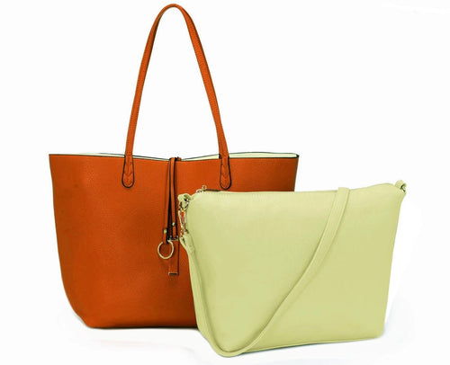 A-SHU LARGE REVERSIBLE TOTE BAG SET WITH CROSSBODY BAG - TAN BROWN / CREAM - A-SHU.CO.UK