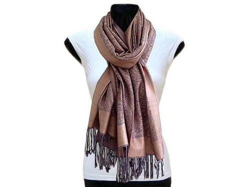LARGE ROSE GOLD AND GREY PAISLEY PRINT PASHMINA SHAWL SCARF