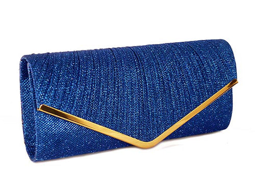 A-SHU LARGE ROYAL BLUE METALLIC ENVELOPE CLUTCH BAG WITH LONG CHAIN STRAP - A-SHU.CO.UK