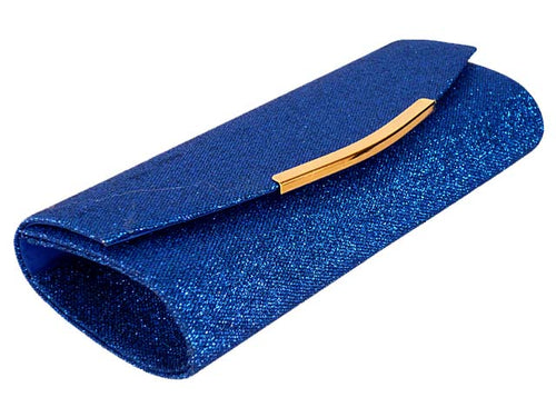A-SHU LARGE ROYAL BLUE SPARKLY METALLIC CLUTCH BAG WITH LONG CHAIN STRAP - A-SHU.CO.UK