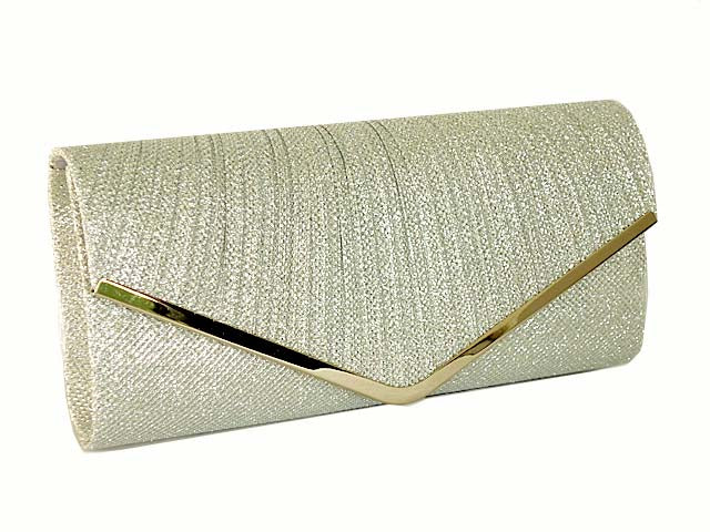 A-SHU LARGE SILVER METALLIC ENVELOPE CLUTCH BAG WITH LONG CHAIN STRAP - A-SHU.CO.UK