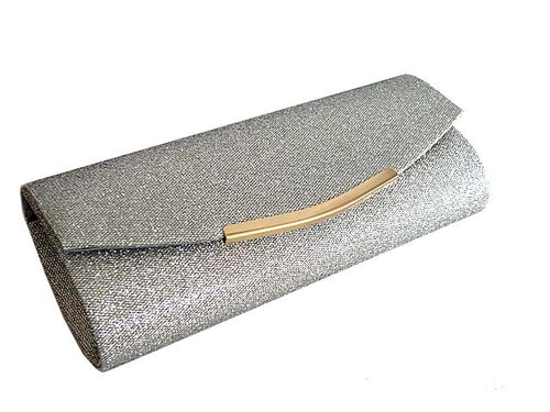 A-SHU LARGE SILVER SPARKLY METALLIC CLUTCH BAG WITH LONG CHAIN STRAP - A-SHU.CO.UK
