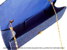 LARGE CHAMPAIGN GOLD SPARKLY METALLIC CLUTCH BAG WITH LONG CHAIN STRAP
