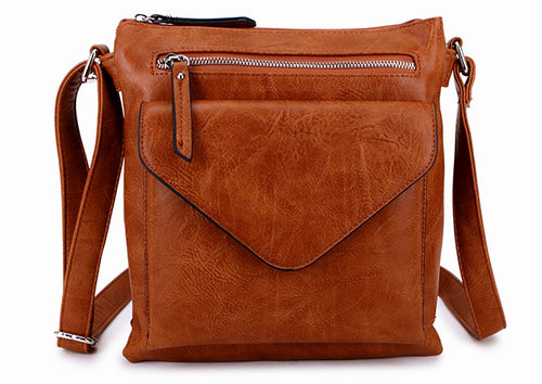 A-SHU LARGE TAN ENVELOPE DESIGN CROSS BODY BAG WITH LONG STRAP - A-SHU.CO.UK