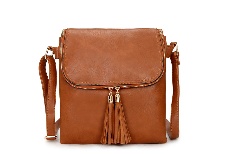 A-SHU LARGE TAN TASSEL MULTI COMPARTMENT CROSS BODY SHOULDER BAG WITH LONG STRAP - A-SHU.CO.UK