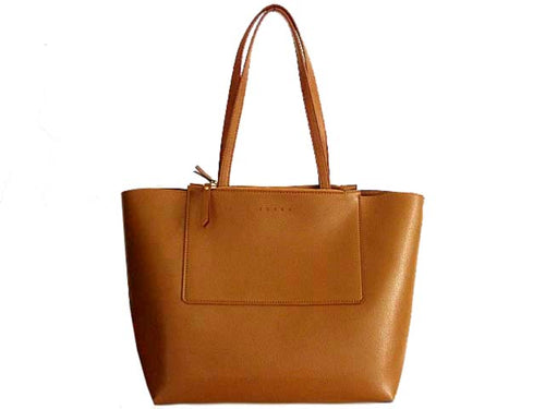 LARGE TAN FAUX LEATHER TOTE HANDBAG WITH DETACHABLE INNER BAG