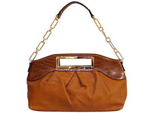 A-SHU LARGE TAN LEATHER EFFECT CHAIN LINKED SHOULDER BAG / HOLDALL HANDBAG - A-SHU.CO.UK