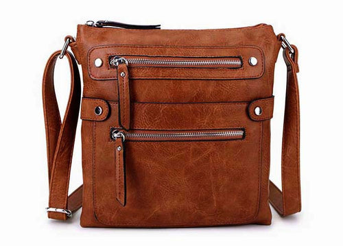 LARGE TAN MULTI COMPARTMENT CROSSBODY BAG WITH LONG STRAP