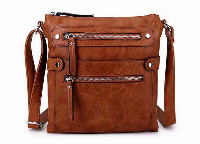 A-SHU LARGE TAN MULTI COMPARTMENT CROSSBODY BAG WITH LONG STRAP - A-SHU.CO.UK