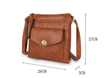 A-SHU LARGE TAN TURN LOCK MULTI COMPARTMENT CROSS BODY SHOULDER BAG WITH LONG STRAP - A-SHU.CO.UK