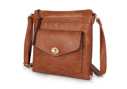 LARGE TAN TURN LOCK MULTI COMPARTMENT CROSS BODY SHOULDER BAG WITH LONG STRAP
