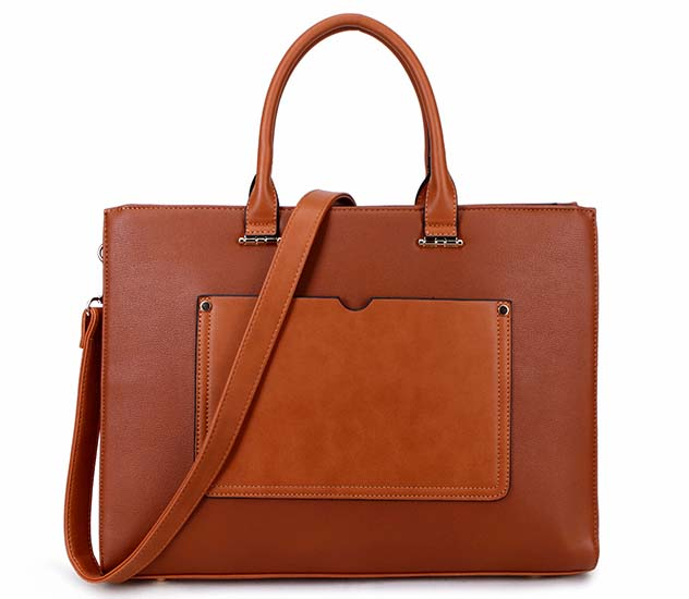 LARGE TAN MULTI COMPARTMENT OFFICE TOTE LAPTOP HANDBAG WITH LONG SHOULDER STRAP