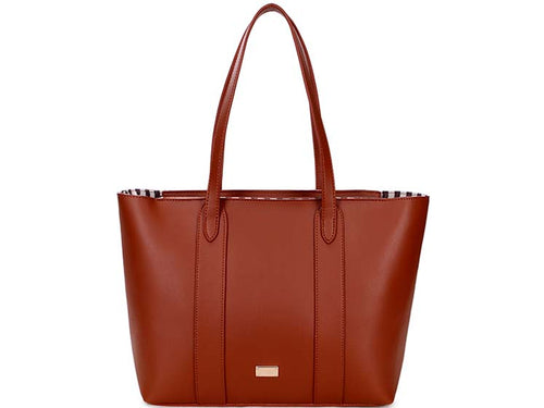 A-SHU LARGE PLAIN TAN TOTE HANDBAG WITH STRIPE INTERIOR - A-SHU.CO.UK
