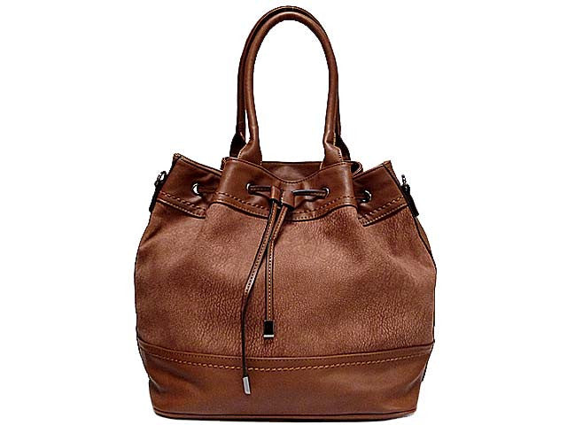 LARGE TAN TEXTURED LEATHER EFFECT TOTE HANDBAG WITH LONG SHOULDER STRAP