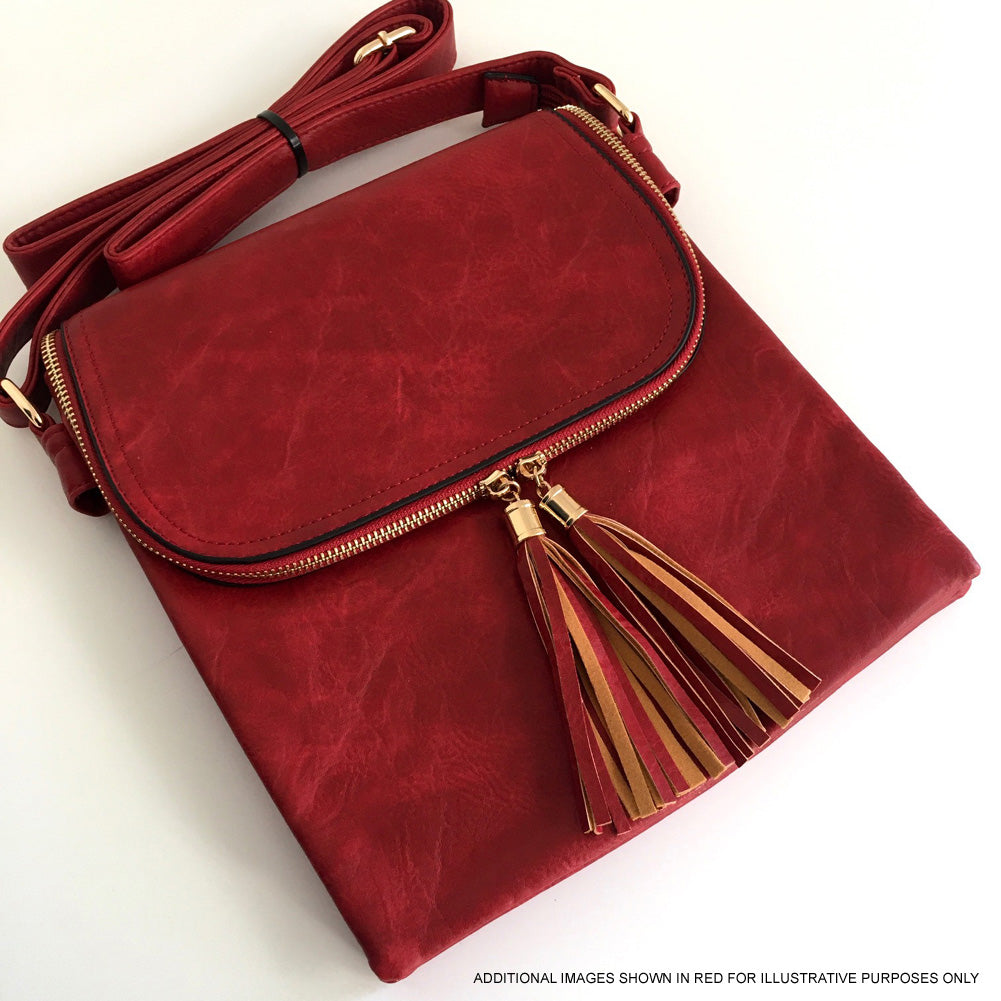 A-SHU LARGE ORANGE TASSEL MULTI COMPARTMENT CROSS BODY SHOULDER BAG WITH LONG STRAP - A-SHU.CO.UK