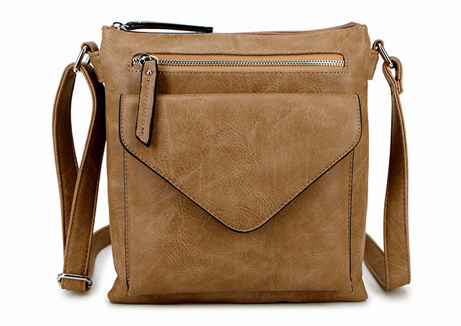 A-SHU LARGE TAUPE BEIGE ENVELOPE DESIGN CROSS BODY BAG WITH LONG STRAP - A-SHU.CO.UK
