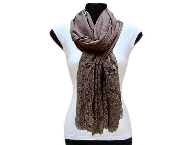 LARGE TAUPE BEIGE LACE DETAIL LIGHTWEIGHT SCARF