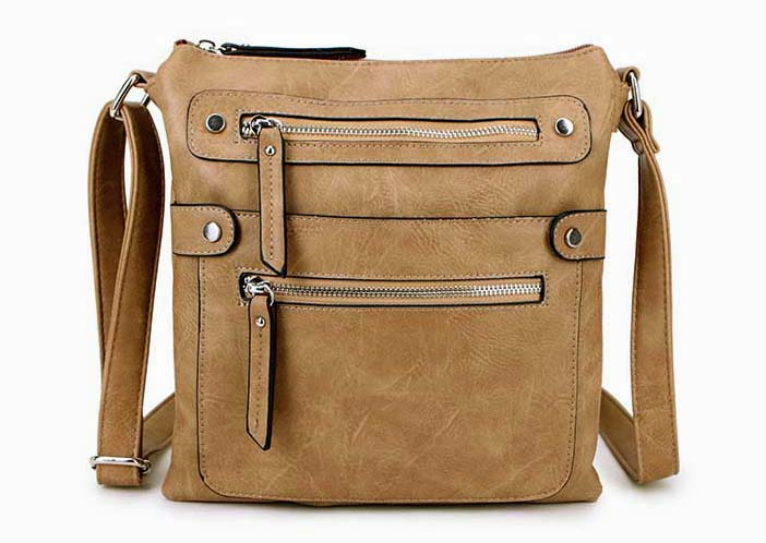 LARGE TAUPE MULTI COMPARTMENT CROSSBODY BAG WITH LONG STRAP