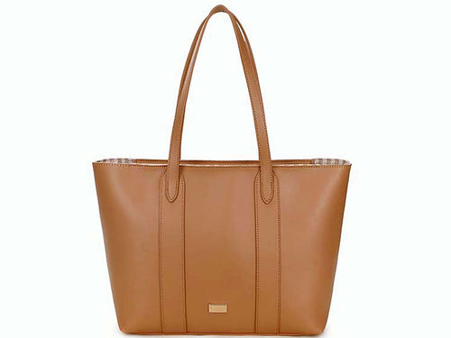 A-SHU LARGE PLAIN NUDE CAMEL TOTE HANDBAG WITH STRIPE INTERIOR - A-SHU.CO.UK