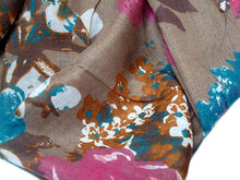 LARGE TAUPE BROWN FLORAL PRINT LIGHTWEIGHT SCARF