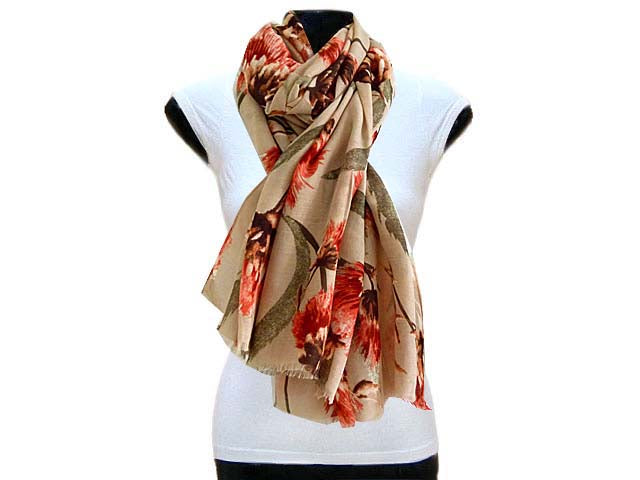 LARGE TAUPE BROWN PINK FLORAL PRINT LIGHTWEIGHT SCARF