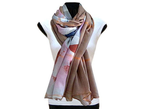 LARGE TAUPE BROWN ROSE GOLD CHECKED PASHMINA SHAWL SCARF