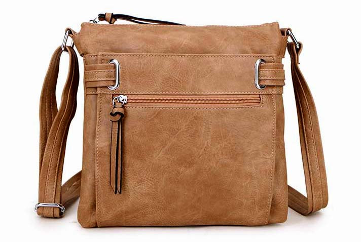 A-SHU LARGE TAUPE MULTI COMPARTMENT CROSS BODY OVER SHOULDER BAG WITH LONG STRAP - A-SHU.CO.UK