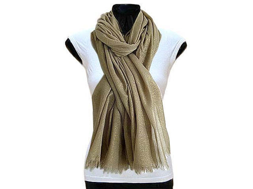 A-SHU LARGE TAUPE GOLD SHIMMER LIGHTWEIGHT SCARF - A-SHU.CO.UK