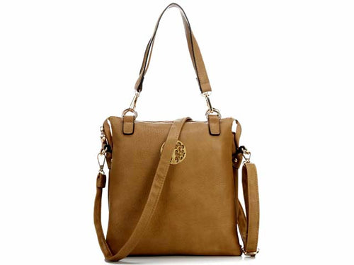 LARGE TAUPE MULTI POCKET HANDBAG WITH LONG CROSS BODY STRAP