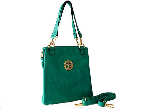 LARGE TURQUOISE MULTI POCKET HANDBAG WITH LONG CROSS BODY STRAP